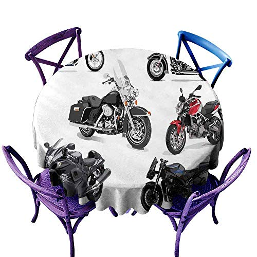(AndyTours Round Tablecloth,Motorcycle,Unique Original Motorcycles Set Freestyle Action Life with Winged Wheels Hobby Print,for Events Party Restaurant Dining Table Cover,43 INCH Multi)