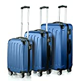 "Timmari Hard Lightweight ABS Luggage Set - 29"" + 26"" + 21"" Premium Quality Sturdy & Durable Hardshell - Double Wheels & Protected Corners - Ultra Strong Zipper & Number Lock (Sky Blue)"