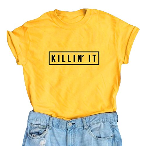 Female Yellow T-shirt (YITAN Women Teen Girl Cute Tops Women T Shirts Junior Graphic Tee Yellow Small)