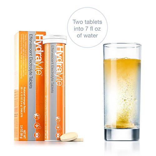 Hydralyte - Effervescent Tablets, On-the-go Hydration tablets (Orange, 20 Count)