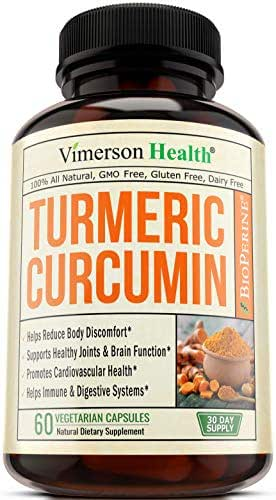 Turmeric Curcumin with Bioperine Joint Pain Relief - Anti-Inflammatory, Antioxidant Supplement with 10mg of Black Pepper for Better Absorption. Best Natural Non-GMO, Made in USA
