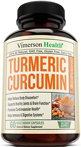 Turmeric Curcumin with Bioperine Joint Pain Relief - Anti-Inflammatory, Antioxidant Supplement with 10mg of Black Pepper for Better Absorption. Best Natural Non-GMO, Made in -