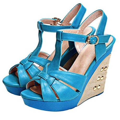 Aiyoumei Mujeres Peep Toe T Strap Sandalias De Plataforma Con Cuña Y Remaches Zapatos De Tacón Alto De Verano Azul