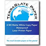 TerraSlate Copy Paper Waterproof Laser Printer, Rain Weatherproof, 4 MIL, 8.5x11-inch, 25 Sheets