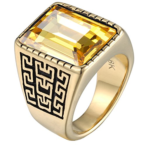 PAURO Men's Stainless Steel Vintage Great Wall Pattern Square Diamond Cz Ring Gold Plated Yellow Size 8