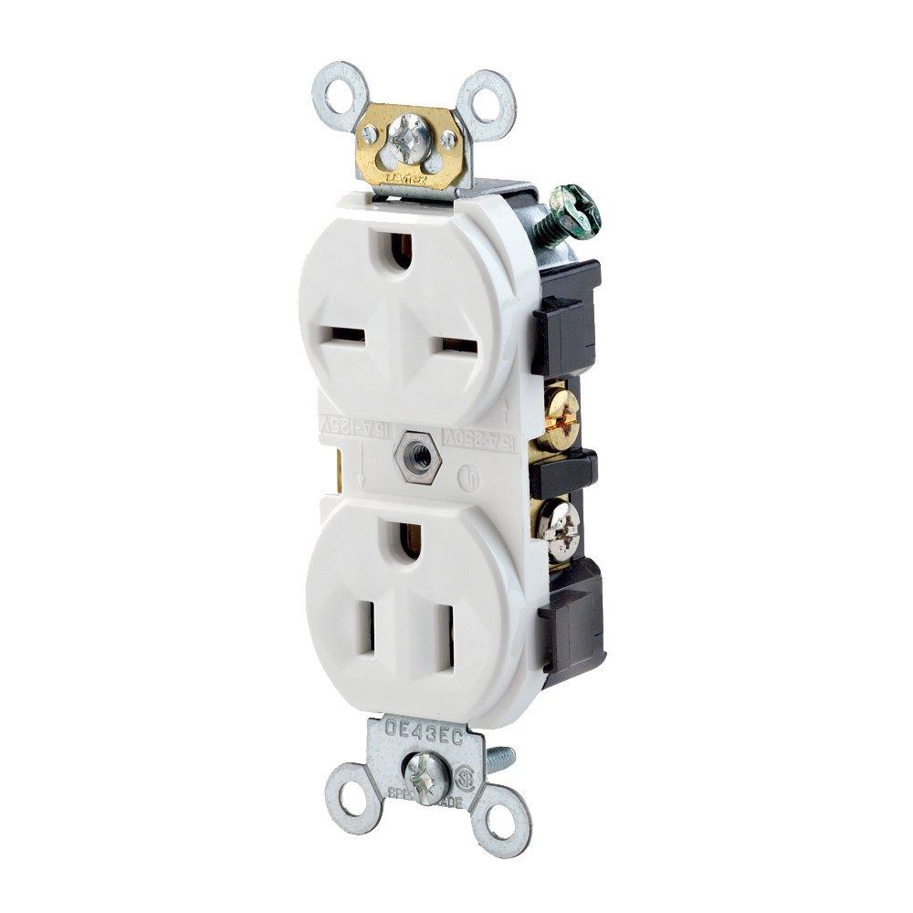 Leviton 5031-W 15 Amp, 125/250 Volt, Narrow Body Duplex Receptacle, Straight Blade, Commercial Grade, Self Grounding, Dual Voltage, White