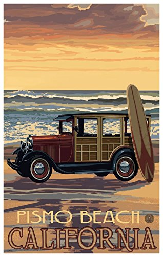 Pismo Beach California Car With Surfboard Travel Art Print Poster by Paul A. Lanquist (12