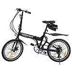 51DLbbRCr0L. SS150 Ridgeyard Bicicletta Pieghevole 20 Pollici a 6 Marce Bici Pieghevole + LED Batteria + Borsa Sella + Campana Bici