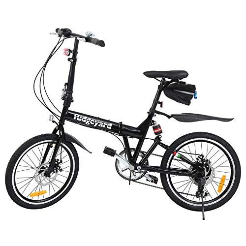 Ridgeyard Bicicleta Plegable 20 Pulgadas de 6 velocidades Bici Plegable + Luz de la batería del LED + Asiento Bag + Bell de la Bici a buen precio