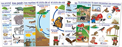 NewPath Learning 94-0322 All About Animals Bulletin Board Chart Set, Spanish Edition (Pack of 8) ()