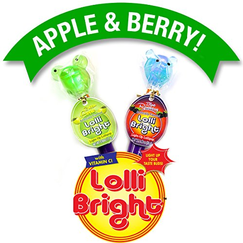 LOLLIBRIGHTS: America's First Color Changing Light-Up Lollipop! 6 Delicious Flavors; Green Apple Frog, Strawberry Rose, Smiley Lemon, Orange Goldfish, Blue Raspberry Bear, and Cherry Heart!