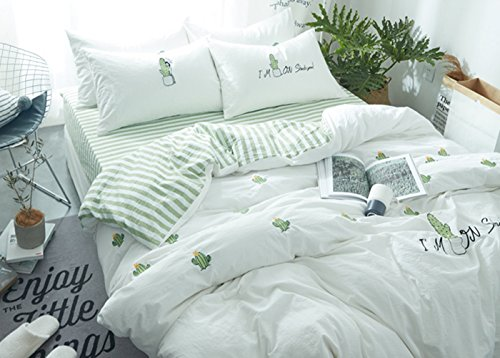 Cactus Embroidery Bedding Sets - MeMoreCool 100% Cotton AB Version Green Style Girls Gifts Duvet Cover and Fitted Sheet 4PC Queen - Euro Fitted Sheet