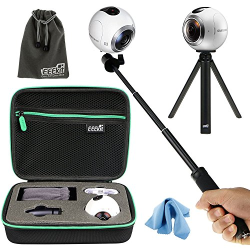 : EEEKit All in 1 Kit for Samsung Gear 360 (2016) Real 360 VR Camera MS-C200, Shockproof Accessories Carrying Case, Selfie Stick Monopod, Mini Tripod Stand