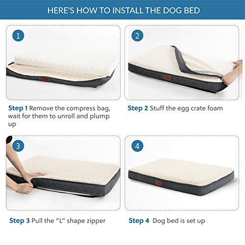 Bedsure Extra Large Dog Bed for Large Dogs Up to 100lbs – XL Orthopedic Dog Beds with Removable Washable Cover, Egg…