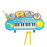 BSPAS 3 in 1 Kids Piano Keyboard Toy with Light/Drum/Microphone Musical Instruments Toy for Kids:3-12 Years Old (Blue)