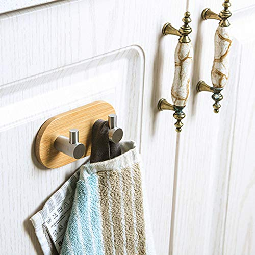 Yu2d  Door Hook Hanger Bathroom Kitchen Closet Without Nail Hook Stainless Steel Bambo(Beige) -