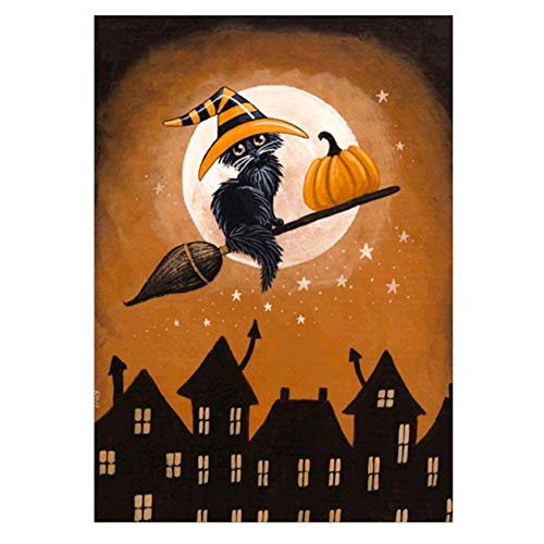 Halloween Cross Stitch Arts,Lovewe Halloween 5D Embroidery Cat Skull Pumpkin Witch Owl Paintings Rhinestone Pasted DIY Diamond Painting (A) ()