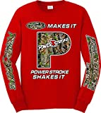 Ford Makes it, Powerstroke Shakes it Camo Logo Long Sleeve T-shirt, Large Red