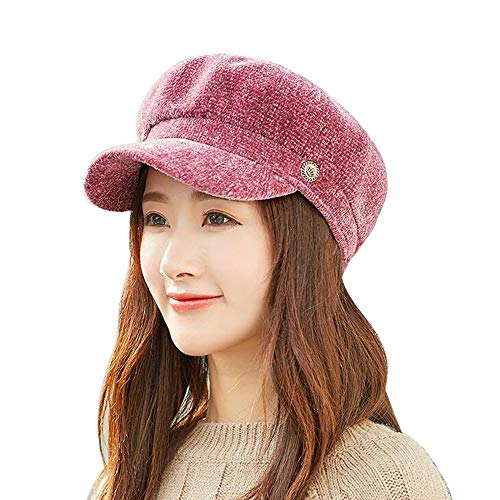 LEXUPA Women's Hat Autumn and Winter Warm Chenille Fashion Cap Dome Trend(One Size,E)