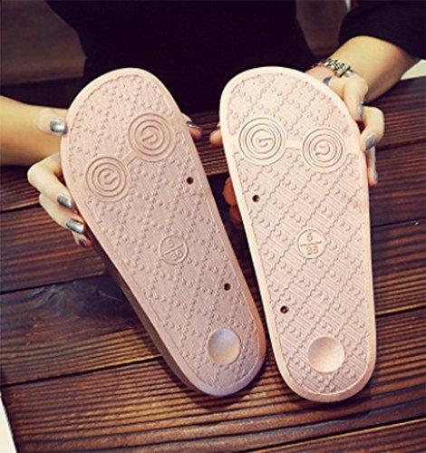 KUKI Frauen Hausschuhe Blumenmuster Sandalen rutschfeste flache Wort Hausschuhe 002