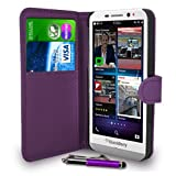 GBOS Blackberry Z30 Dark Purple Leather Wallet Flip Case Cover Pouch + Free Screen Protector & Retractable Touch Stylus Pen + Polishing Cloth
