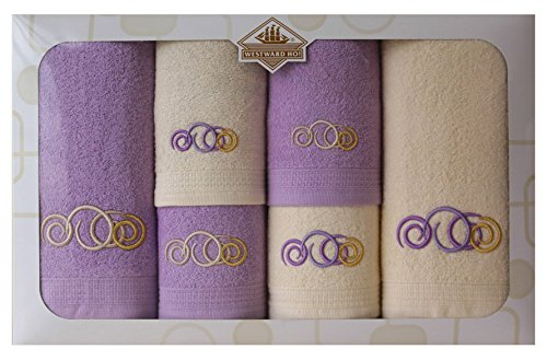 Westward Ho! Sphere Embroidery Box Towel, Cream/Purple