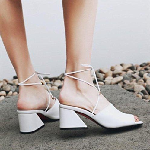 Frau Sandalen dick mit hochhackigen Sandalen Fischmund bequem Fußring Riemen Schuhe White