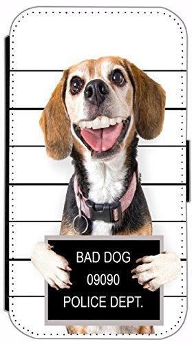 Kuna Flipcover für Apple iPhone 6 Plus (5,5 Zoll) Design Hund Crazy Dog Schwarz Braun Weiß Hülle aus Kunst-Leder Etui Schutzhülle Flip Case Cover Wallet iPhone 6 Plus - 448