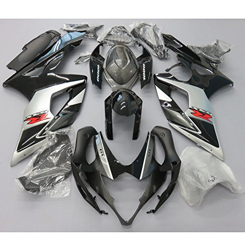 ZXMOTO OEM Style Black & Silver Fairing Kit for Suzuki GSXR 1000 K5 (2005-2006)