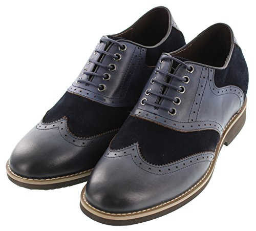 Calto G65011-3.2 Inches Taller - Height Increasing Elevator Shoes - Nubuck Marine-blauwe Lace-up Wing-tip Jurk Schoenen