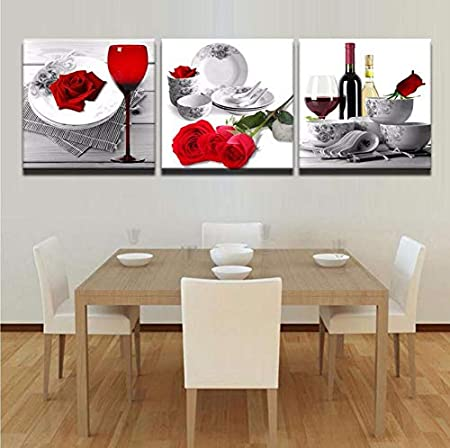 Juabc Moda Parete Modulare Quadri su Tela Le Immagini della Pittura Cucina  E Sala da Pranzo Decorata in Rosa Rossa 3 Pannello di Vetro Frameless ...
