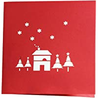 Sanwooden Greeting Card Sent to Bless Creative 3D Handmade Pop Up Invitations Christmas Tree Santa Claus Greeting Cards Grateful to Have You.