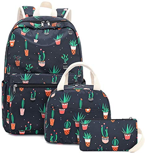 BLUBOON School Backpack Set Girls Womens Laptop Bookbag Casual Daypacks Fits 15inches Laptop with Lunch Tote Bag and Clutch Purse (Cactus Black-0042)