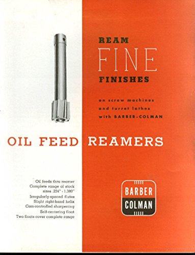 Barber Colman Oil Feed Reamers Sales Catalog Rockford Il 195