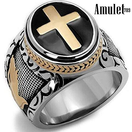 Size 7-15 Vintage Silver Gold Black Two-Tone Holy Cross Signet Ring Prayer Christian Jesus Religious Cocktail Valentine (11)