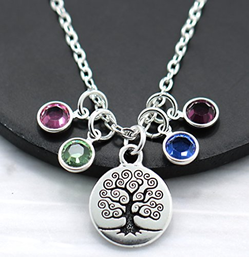 Family Tree Birthstone Necklace - Personalized Mom or Grandma Jewelry Gift - Choose Your Chain Length - Up to 9 Birthstones - Fast ()