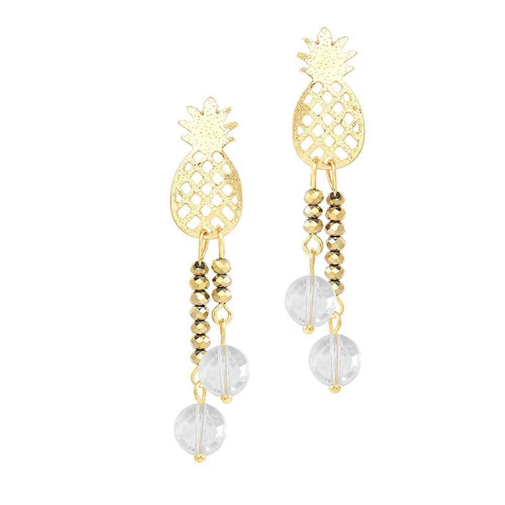 Ludage Earrings, Electroplating Alloy Earrings Pineapple Beads Pendant Pearl Earrings European and American Original Design Earrings