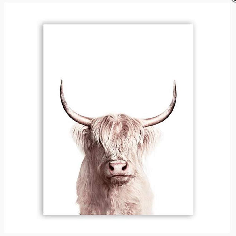 Nórdico Moderno Arte Animal Animal Búfalo Lienzo Cartel ...