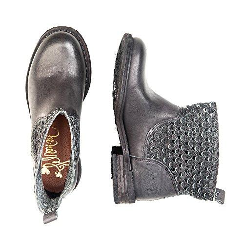 Felmini - Zapatos para Mujer - Enamorarse com Gredo 8346 - Botines Cowboy & Biker - Cuero Genuino - Negro - 0 EU Size Negro