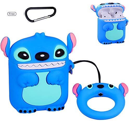 - Gukis for Airpods 1/2 Case,Cute 3D Cartoon Kawaii Animal Character Soft Silicone Shock-Proof Cover Designer Skin Kits with Ring,Cool Fun Funny Fashion Case for Girls Kids Teens Air pods(Blue Stitch)