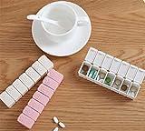 Portable Pill Box Mini Medicine Box Portable Sealing Portable Box Drug Storage Box Portable Packing Pills Tweekly 7 Sided Pill Planner Weekly Pill Organizer (Gray White)