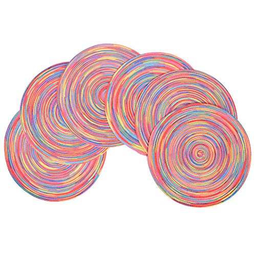 famibay Round Placemats, Braided Woven Place Mats or Charger for Dining Table Heat Insulation Table Mats for Kitchen 15 Inches Set of 6, Multi Color
