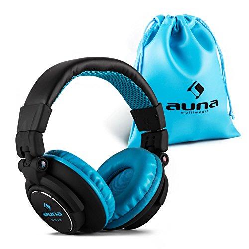 Auna Base Over Ear DJ Kopfhörer moderne, bequeme, weich gepolsterte Hifi Ohrhörer (Kabel austauschbar / abnehmbar, 15Hz-22kHz, geschlossen, klappbar) blau-schwarz