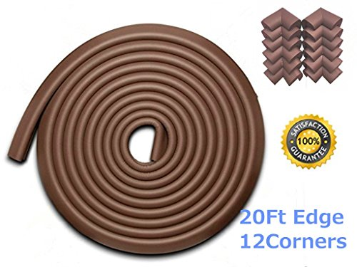 AWESOM 23.3 ft [19.7ft Edge 12 Corners] Safety Edge & Corner Cushion Guards- Premium Childproofing Protection -COFFEE-EXTRA LONG, EXTRA DENSE Image