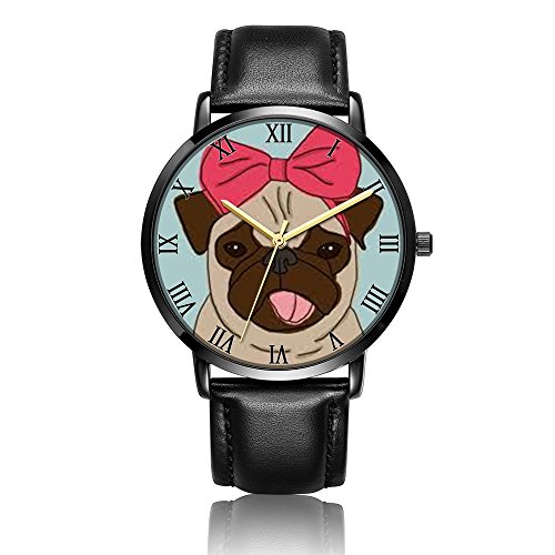 Wrist Electronic Watch (Kusa Fashion Dog Wrist Watch, Dog Pattern Design PU Leather with Stainless Steel Wrist Watch For Women and Men)