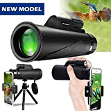 Monocular Telescope, 12X50 High Power Prism Monocular and Quick Smartphone Holder - Waterproof Fog- Proof Shockproof Scope -BAK4 Prism FMC for Bird Watching Hunting Camping Travelling Wildlife Secener