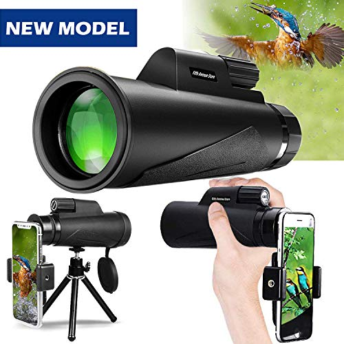 Monocular Telescope, 12X50 High Power Prism Monocular and Quick Smartphone Holder - Waterproof Fog- Proof Shockproof Scope -BAK4 Prism FMC for Bird Watching Hunting Camping Travelling Wildlife Secener