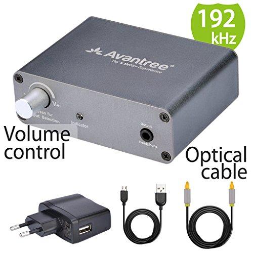 Avantree DAC Digital zu Analog Audio Konverter Wandler Adapter mit 2m Optischem Kabel und Lautstärkeregelung vor, von TV Optisch / Koaxial zu Kopfhörern 3.5mm Klinke oder Lautsprecher RCA Outputs