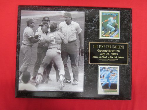 (George Brett PINE TAR GAME 2 Card Collector Plaque w/8x10 Photo Royals)