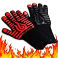 BBQ Works Grill Gloves, Extreme Heat Resistant Gloves to 932°F, Wider Silicone Strips for Extreme Protection, Wrist Safety, Comfortable Grilling Gloves, Use for BBQ, Grill and Oven. Red/Black